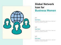 Global Network Icon For Business Women