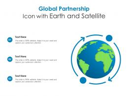 Global Partnership Icon With Earth And Satellite