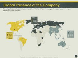 Global Presence Of The Company Global Ppt Powerpoint Presentation Inspiration