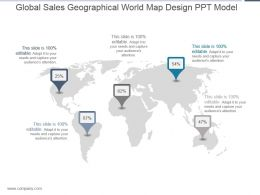 Global Sales Geographical World Map Design Ppt Model