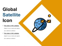Global Satellite Icon Sample Of Ppt