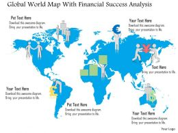 Global World Map With Financial Success Analysis Ppt Presentation Slides