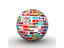 Globe Build With Multiple Flags Stock Photo