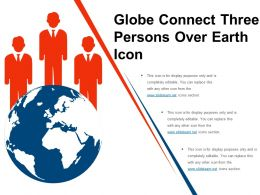Globe Connect Three Persons Over Earth Icon