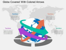 Globe Covered With Colored Arrows Flat Powerpoint Desgin