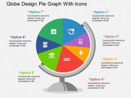 Globe Design Pie Graph With Icons Flat Powerpoint Design