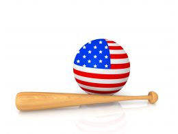 Globe Designed With Flag Of America And Baseball Bat Stock Photo