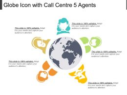 Globe Icon With Call Centre 5 Agents