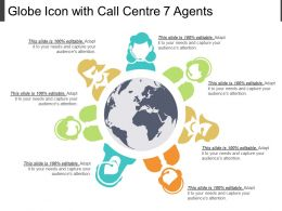 Globe Icon With Call Centre 7 Agents
