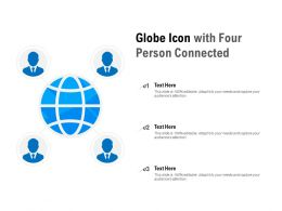 Globe Icon With Four Person Connected