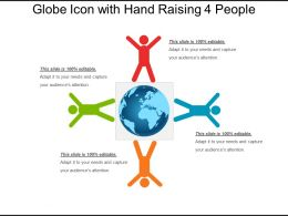 Globe Icon With Hand Raising 4 People