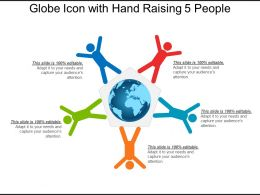 Globe Icon With Hand Raising 5 People