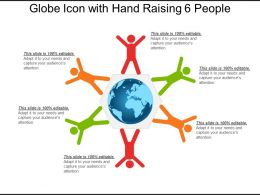 Globe Icon With Hand Raising 6 People