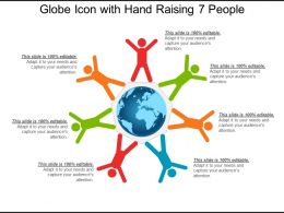 Globe Icon With Hand Raising 7 People