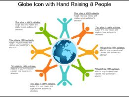 Globe Icon With Hand Raising 8 People