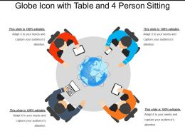 Globe Icon With Table And 4 Person Sitting
