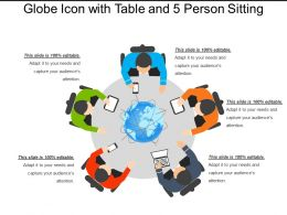 Globe Icon With Table And 5 Person Sitting