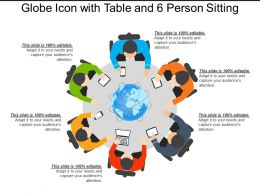 Globe Icon With Table And 6 Person Sitting