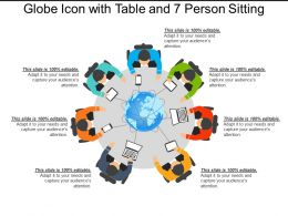 Globe Icon With Table And 7 Person Sitting