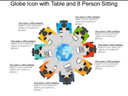 Globe Icon With Table And 8 Person Sitting
