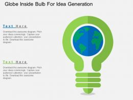 Globe Inside Bulb For Idea Generation Flat Powerpoint Design