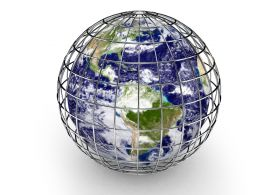 Globe Inside The Metal Cage Stock Photo