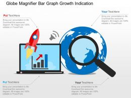 Globe Magnifier Bar Graph Growth Indication Flat Powerpoint Design