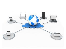 Globe On Cloud Devices With Networking Displaying Cloud Computing Stock Photo