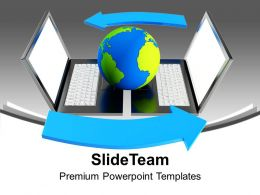 Globe On Laptops Network Internet PowerPoint Templates PPT Themes And Graphics 0213