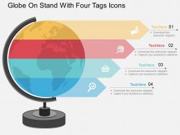 globe_on_stand_with_four_tags_and_icons_ppt_presentation_slides_Slide01