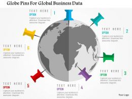 Globe Pins For Global Business Data Flat Powerpoint Design