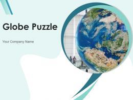 Globe Puzzle Image Hand Company Slogan Continents Shadow