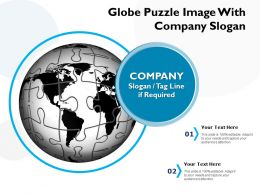 Globe Puzzle Image With Company Slogan