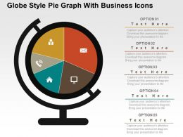 Globe Style Pie Graph With Business Icons Powerpoint Slides