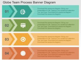 Globe Team Process Banner Diagram Flat Powerpoint Design