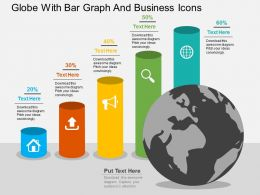 Globe With Bar Graph And Business Icons Flat Powerpoint Design