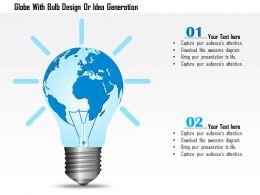 Globe With Bulb Design Or Idea Generation Ppt Presentation Slides