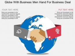 Globe With Business Men Hand For Business Deal Ppt Presentation Slides
