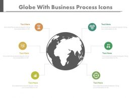 Globe With Business Process Icons Powerpoint Slides