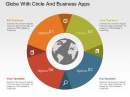 Globe With Circle And Business Apps Flat Powerpoint Design