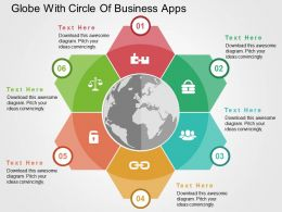 globe_with_circle_of_business_apps_flat_powerpoint_design_Slide01