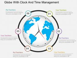 Globe With Clock And Time Management Flat Powerpoint Design