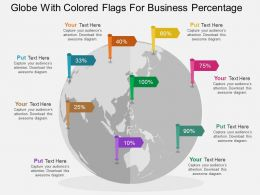 Globe With Colored Flags For Business Percentage Ppt Presentation Slides