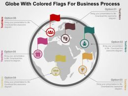 Globe With Colored Flags For Business Process Ppt Presentation Slides