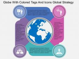 Globe With Colored Tags And Icons Global Strategy Flat Powerpoint Design