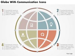 Globe With Communication Icons Flat Powerpoint Design