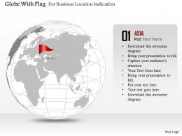 Globe With Flag For Business Location Indication Ppt Presentation Slides