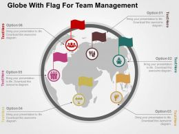 Globe With Flag For Team Management Flat Powerpoint Design