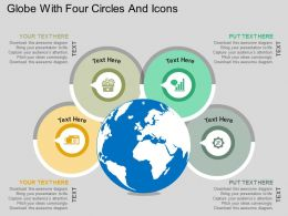 Globe With Four Circles And Icons Flat Powerpoint Design