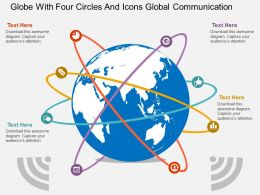 Globe With Four Circles And Icons Global Communication Ppt Presentation Slides